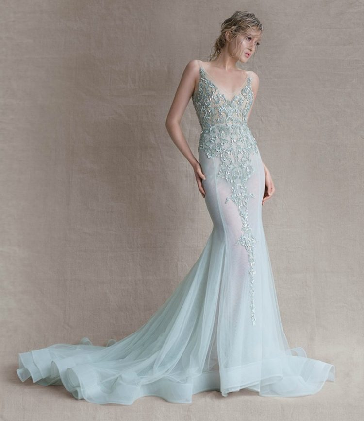 aqua V-neckline sparkling wedding dress with a train