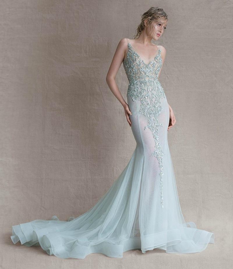 aqua V neckline sparkling wedding dress with a train