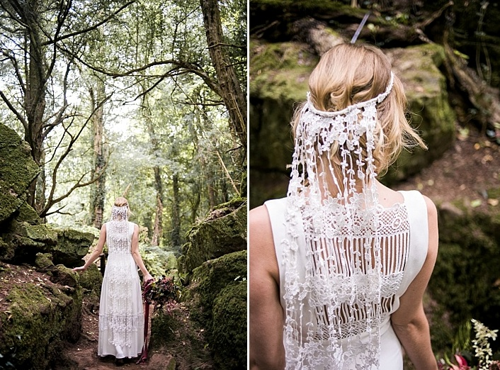 I totatlly love the back of the wedidng dress decorated with crochet lace and a veil of the same lace for a laid-back look