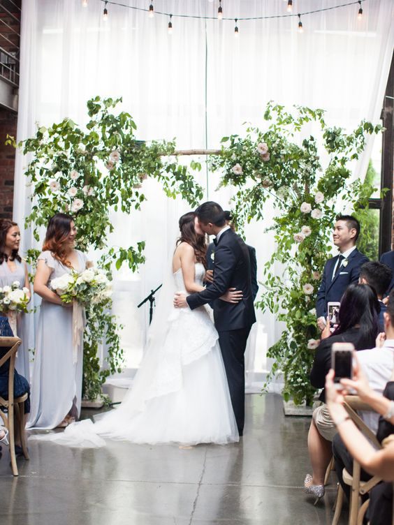 greenery and flower rustic wedding arch