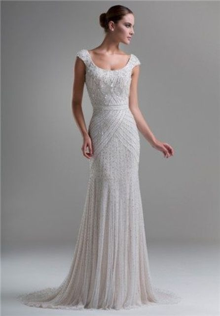 Picture Of Heavily Embellished Cap Sleeves Sheath Wedding Gown Inspired By The 1920s