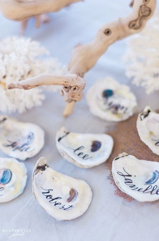 oyster shell escort cards can be DIYed