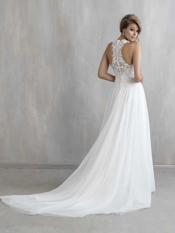 05 romantic wedding dress with a small train and a lace racerback