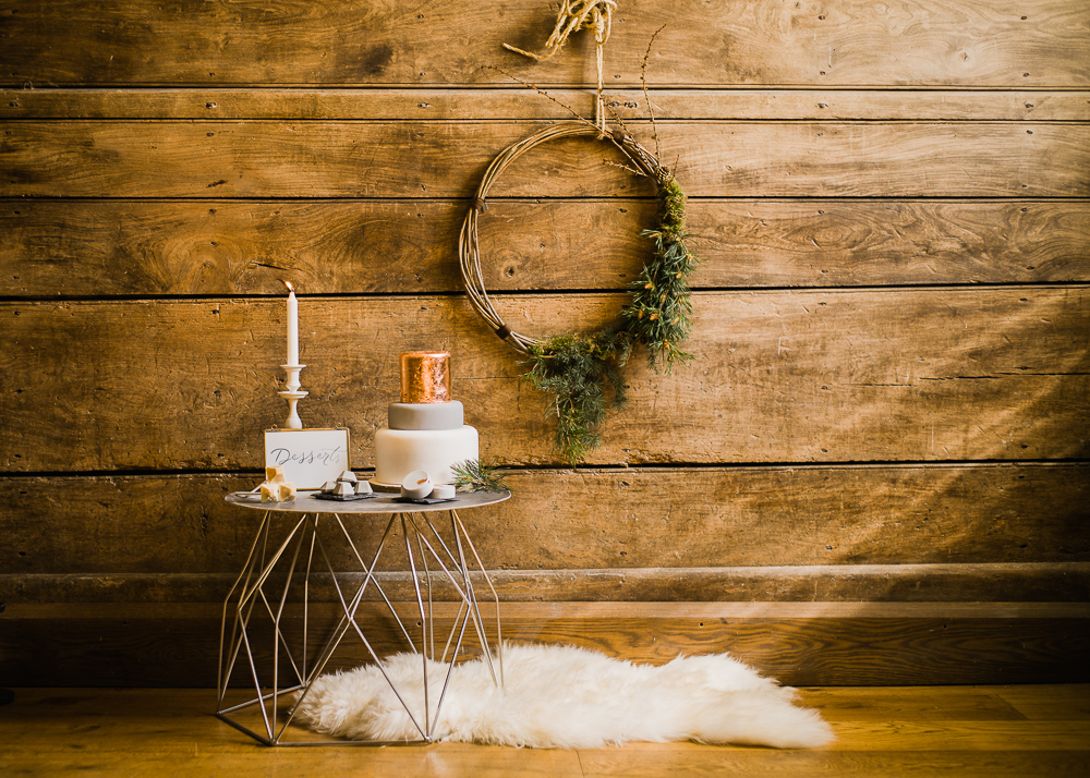 A simple messy wreath, a geometric cake display and a cool cake with a copper upper layer