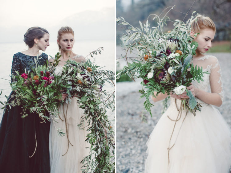 Chic messy bouquets with olive branches reminded of Tuscan hills