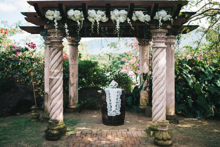 The arbor was decorated with white flowers
