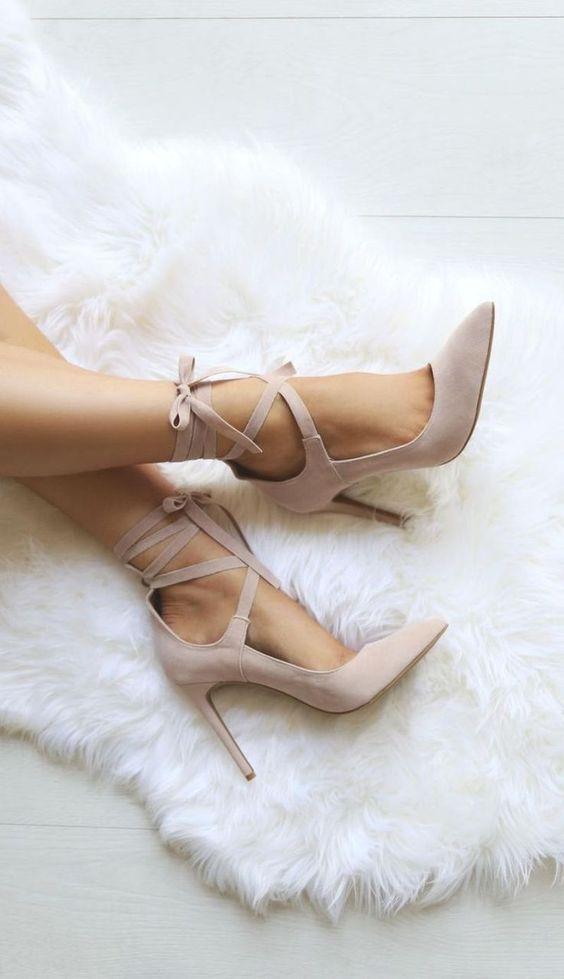 blus suede ankle strap heels