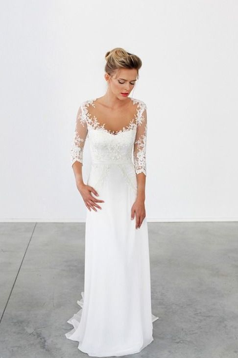 illusion lace half sleeves, a scoop neckline lace sheath wedding dress