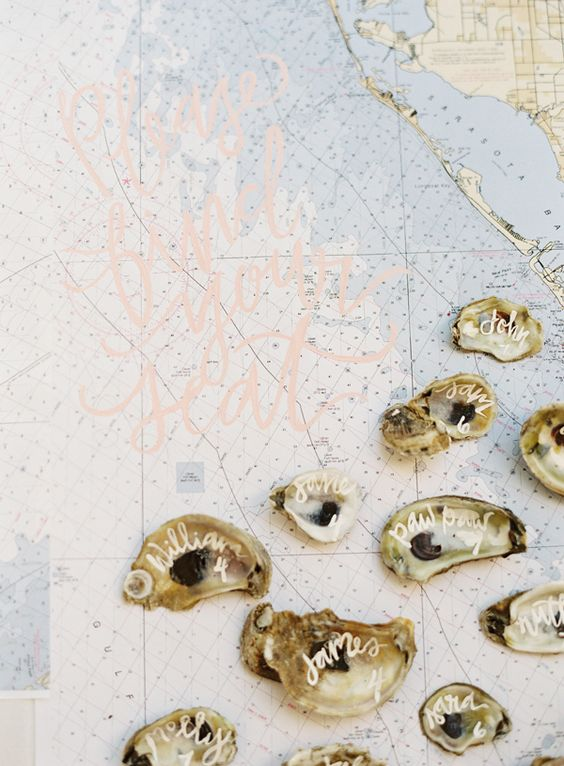 nautical escort cards using oyster shells