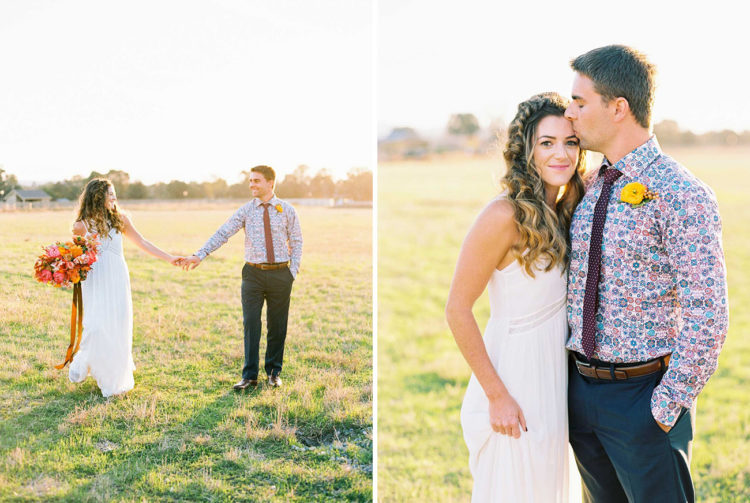 The groom is rocking a bold patterned shirt with a tie and a yellow flower boutonniere