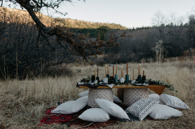 The table was set up as a picnic one but decorated in moody colors and dark shades