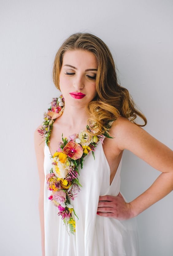 colorful tropical flower necklace for a destination bride