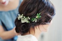 07 curly wedding hairstyle with lily of the valley