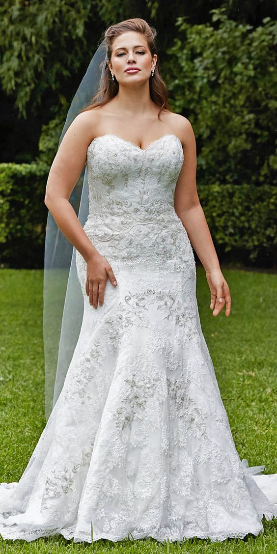 strapless lace jeweled wedding dress with a fit and flare silhouette