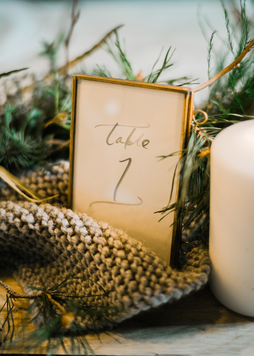 cozy knit wedding details