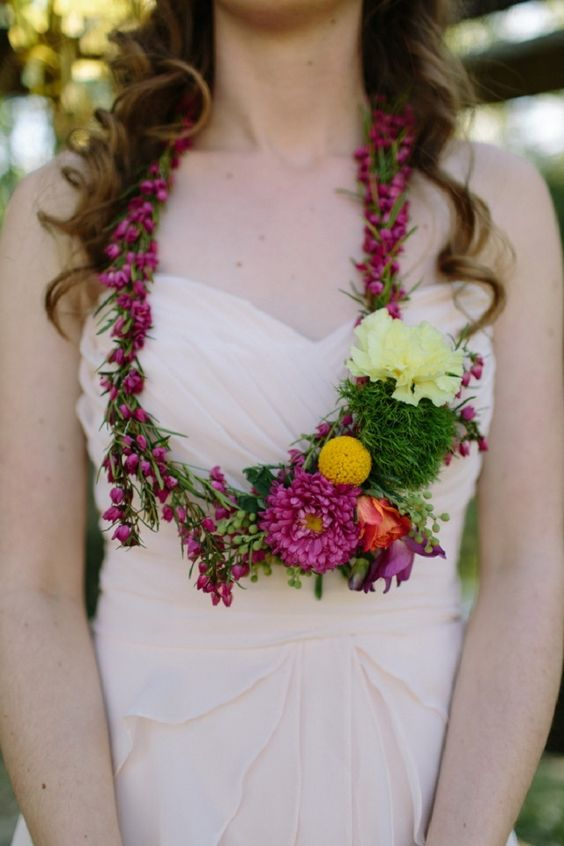 bold colorful flower necklace for the bride