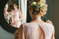 08 curly updo with fresh blooms and greenery