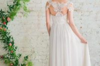 08 sequin-studded lace racerback with draped sleeves