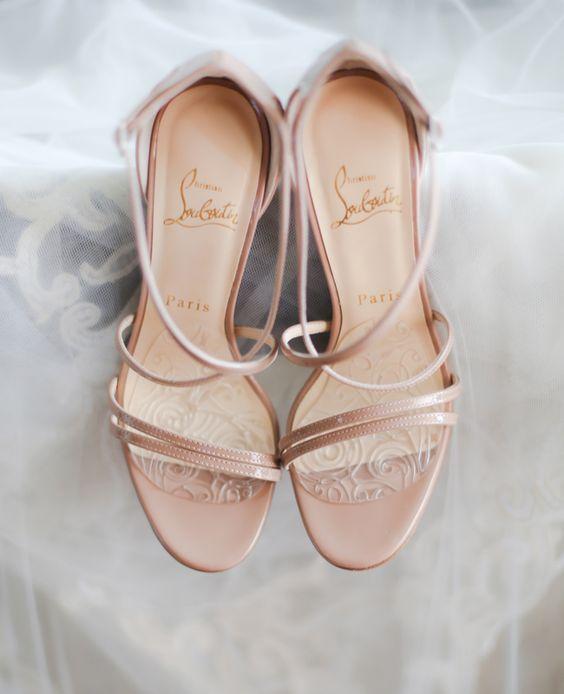 strappy blush bridal heels by Christian Louboutin
