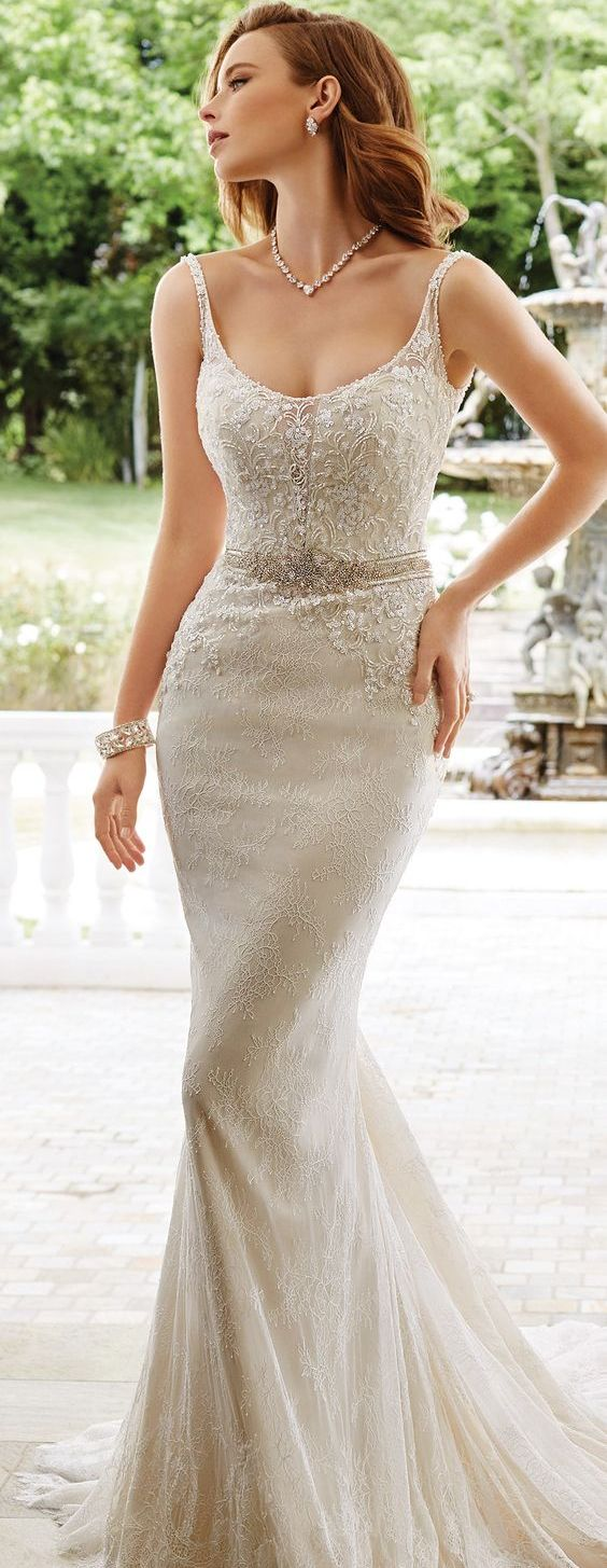 Lace Wedding Dress with Embellished Straps