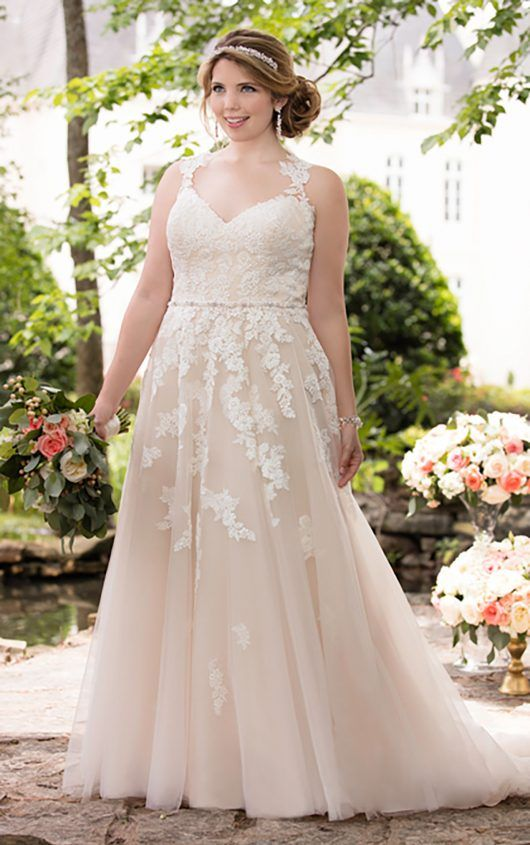d2f2f8a19a1a blush lace applique V-neck wedding dress with lace straps