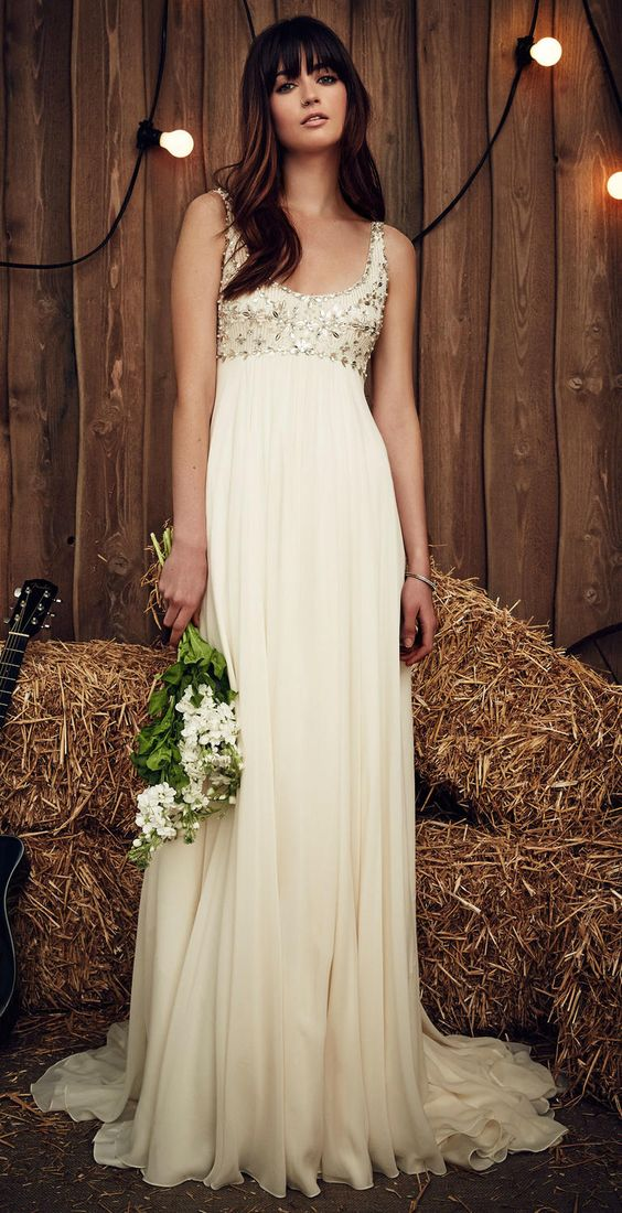 ivory this strap embellished bodice sheath wedding dress with a high waist