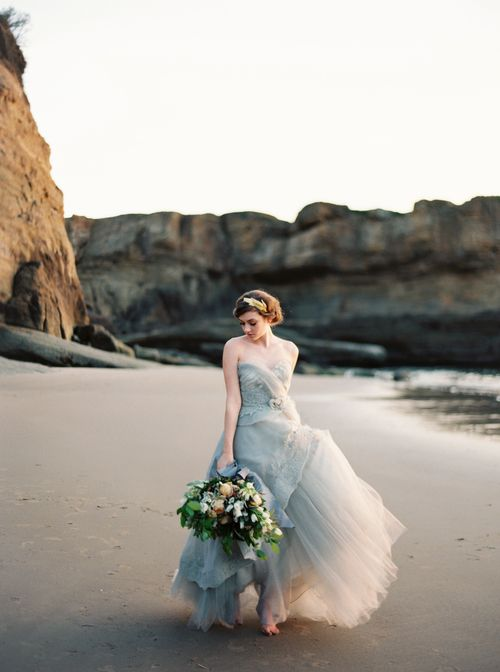 strapless light grey wedding dress for an ocean bride