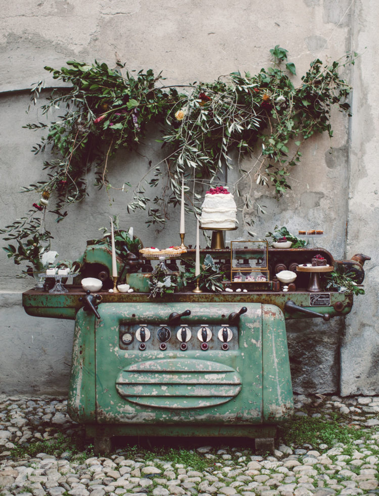 Dessert table located on a large industrial sewing machine for a stylish look