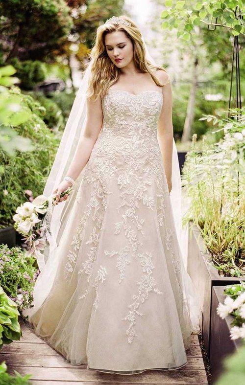 blush strapless lace applique wedding dress