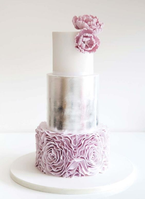 glam white, silver and purple rose cake