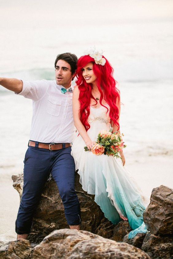 ombre sea-form colored wedding dress, red Airel hair and a shell headpiece