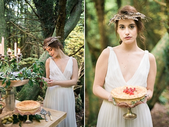 The brides look like forest nymphs in their ethereal dresses and cool crowns
