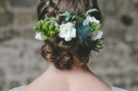 11 braided up with flowers, thistle and succulents