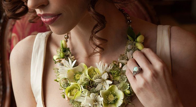 green and yellow bridal necklace