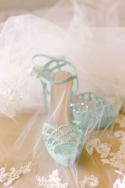 aqua-colored wedding shoes with a sparkle