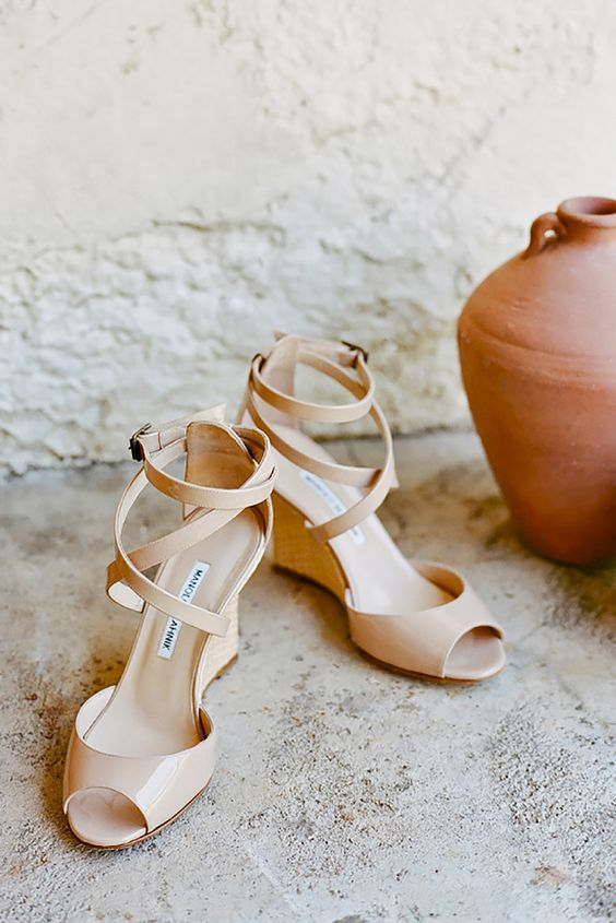 blush strappy wedges are comfortable to dance all night