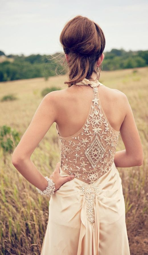 boho wedding gown with a sparkling racerback