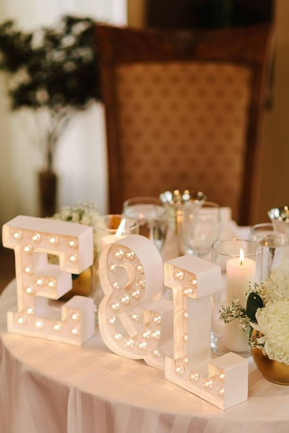 monogram marquee letters for the sweetheart table decor