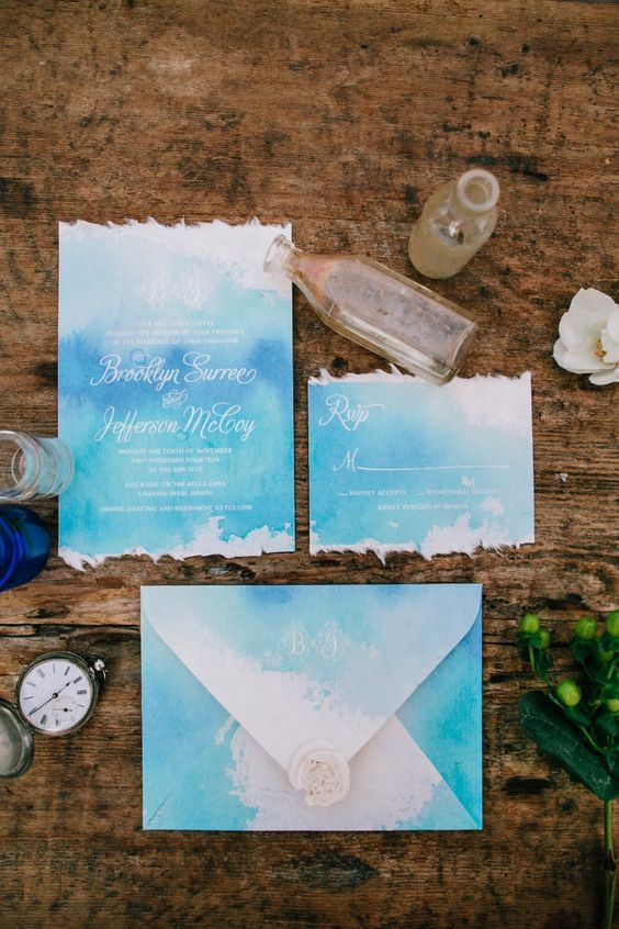 sea breeze coastal inspired wedding invitations in bold blue