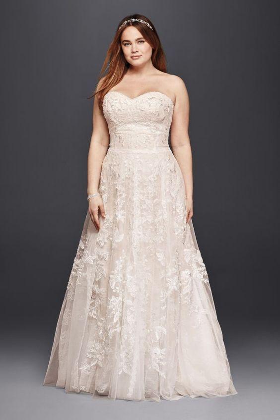 strapless lace blush wedding dress with beading