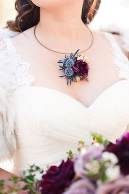 thistle and purple rose floral necklace that matches the bouquet
