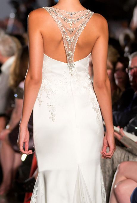 chic fit and flare wedding dress with a jeweled racerback