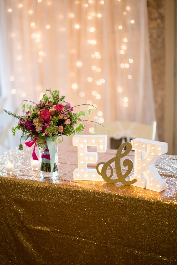 there's nothing better than monogram marquees for a sweetheart table