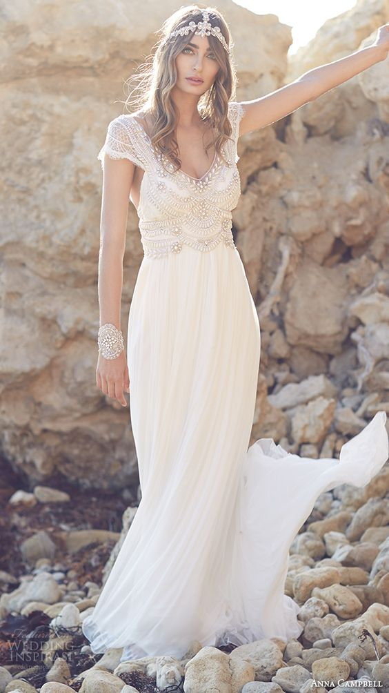 vintage-inspired bohemian pearl-beaded scoop neck wedding dress