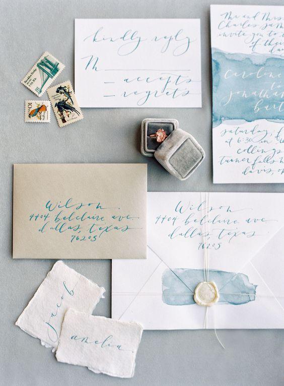 watercolor blue wedding invitations with calligraphy