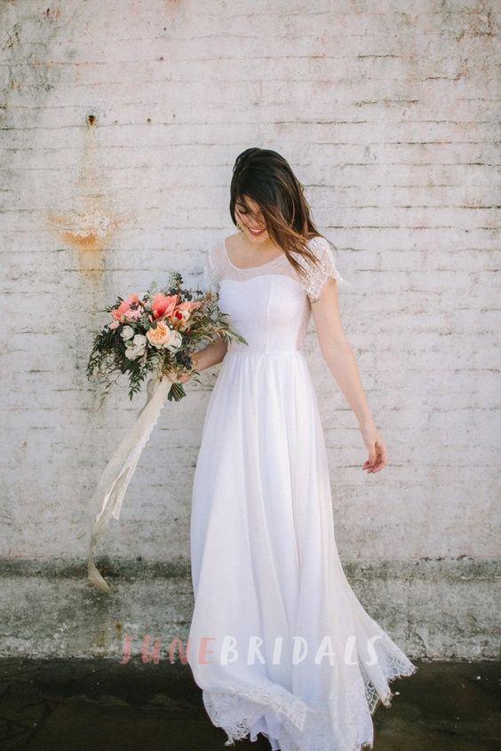 cap sleeve A line chiffon wedding dress with an illusion scoop neckline