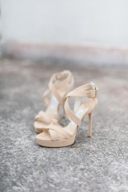 creamy strappy high heels