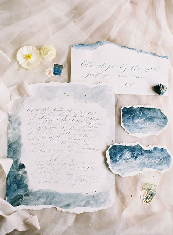 rough edge wedding stationary with dark blue and grey watercolor