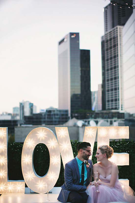 accentuate your rooftop venue with oversized LOVE letters