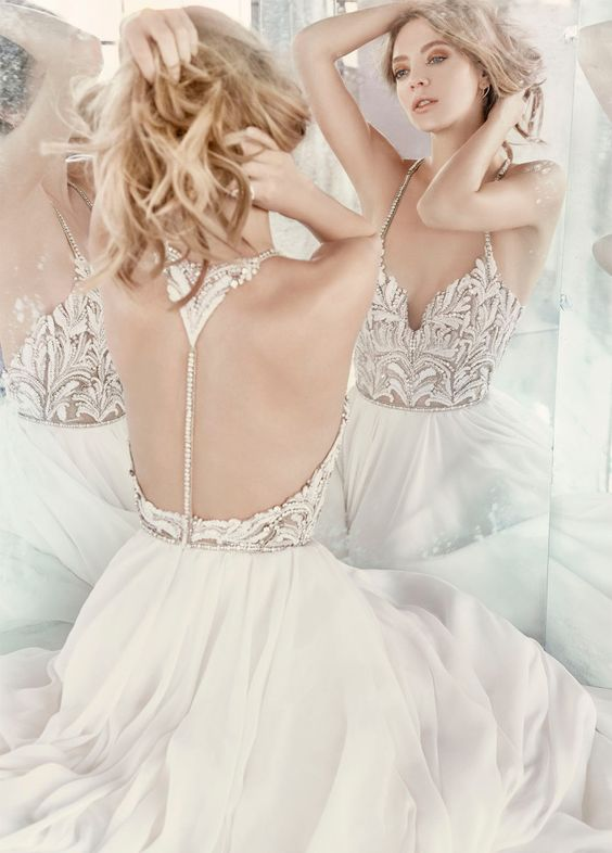 Hayley Paige beaded chiffon wedding dress with a racerback on buttons